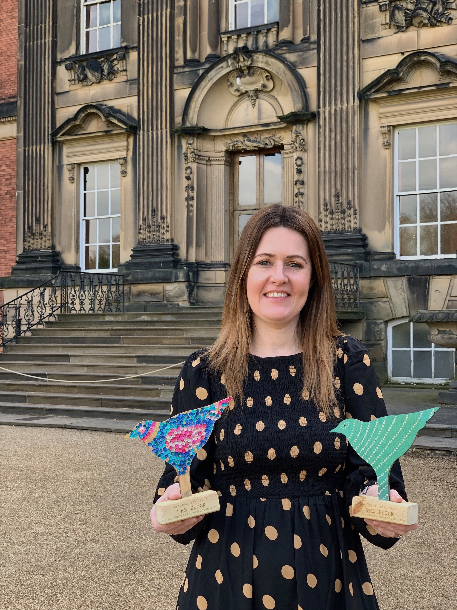 Samantha Heritage, the new Head of Fundraising at Wentworth Woodhouse, with birds from The Flock which are now up for sale