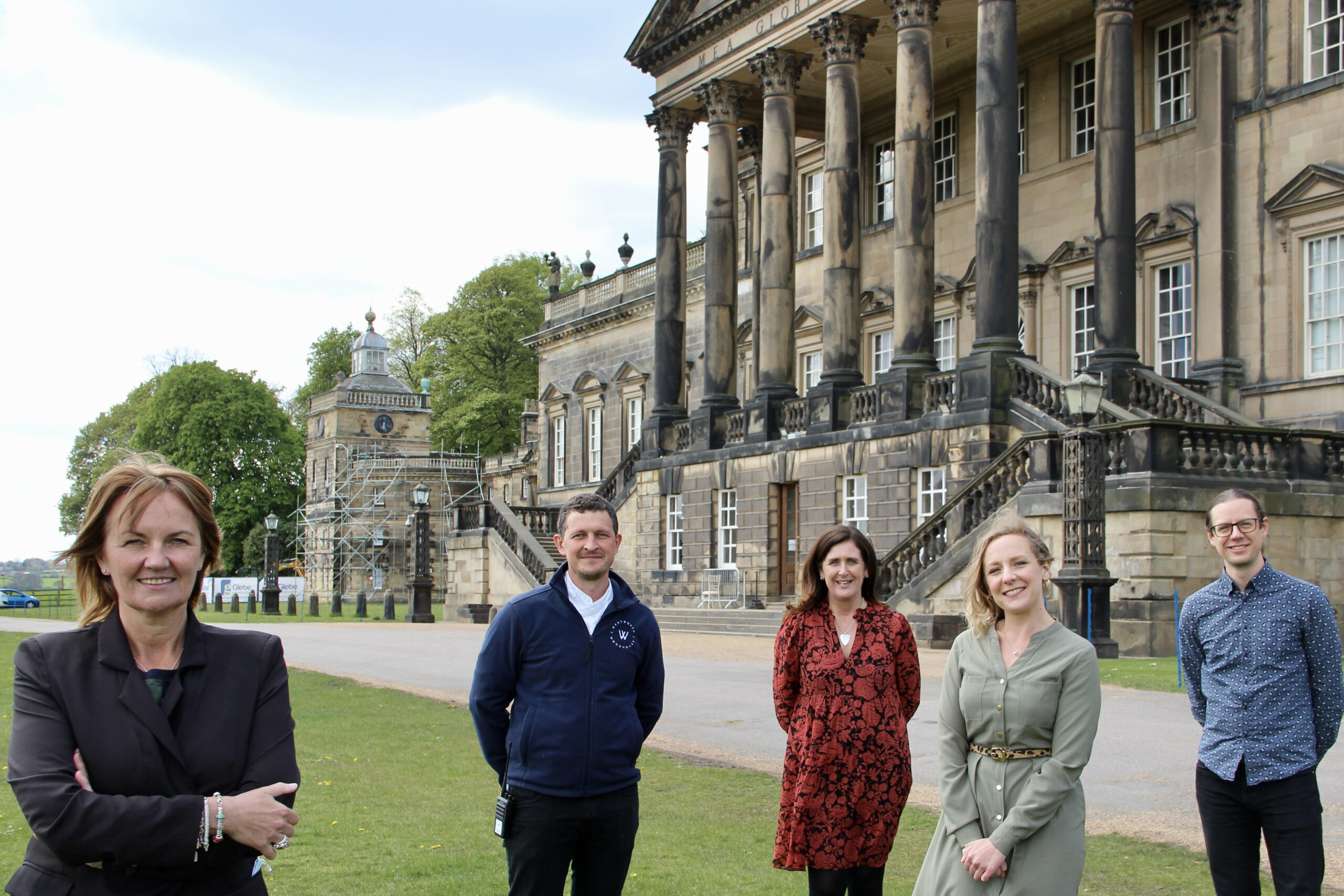 Sarah McLeod, CEO of Wentworth Woodhouse Preservation Trust, with new appointees LtoR Darren Procter, Head of Hospitality, Chief Operations Officer Paula Kaye, Events Manager Lydia Tickner and Head of Marketing and Digital Gabriel Morrison