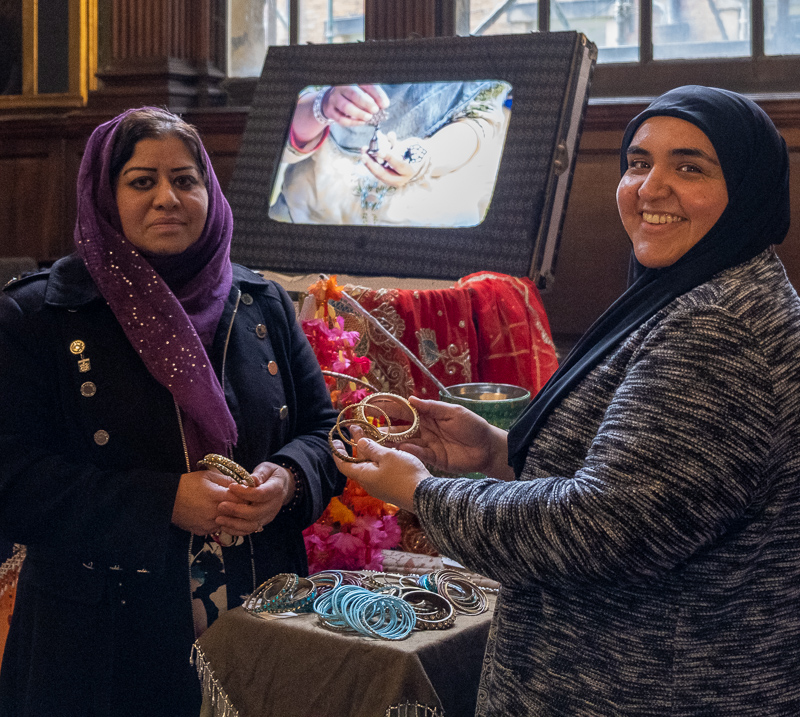 Mariam Shah, Zanib Rasool MBE and Shaheen Shah, of the Zanib Collective, with their exhibition, The Suitcase, in the Chapel at Wentworth Woodhouse