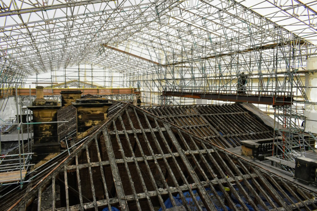 The exposed roof stripped during the restoration.